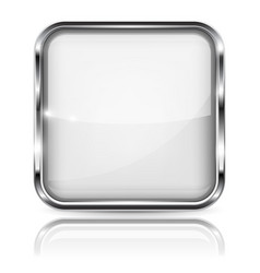 White glass 3d button with metal frame square vector