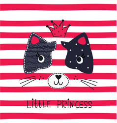 with cute princess cat vector image
