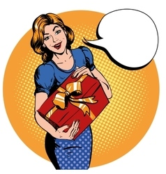 Woman hold gift box Thank you speech bubble vector
