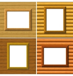 Wood frame on wall set vector image