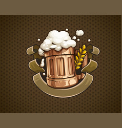 Wooden beer mug with and froth vector