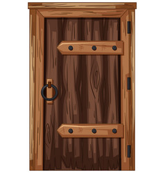 Wooden door in old fashioned style vector