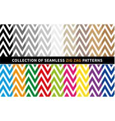 Zig zag seamless patterns set with chevron vector