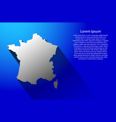 abstract map of france with long shadow on blue vector image