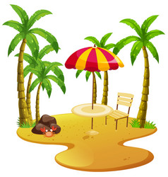 Beach scene with dining table and trees vector