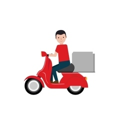 delivery boy riding scooter package vector image