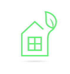 green thin line eco house logo vector image vector image