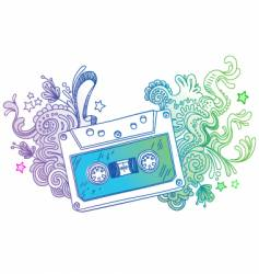 hand drawn audio cassette vector image
