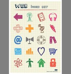 Internet icons set drawn by color pencils vector image vector image