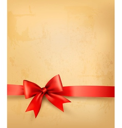Old background with red bow and ribbon vector image vector image