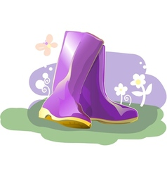Pair of shiny rain boots vector image