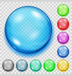 set of transparent colored spheres with shadows vector image