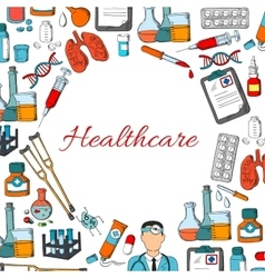 Healthcare poster of medicine items vector image