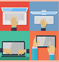 set of flat hand icons holding various hi-tech com vector image vector image
