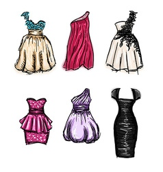 set of gorgeous hand drawn evening and prom vector image vector image