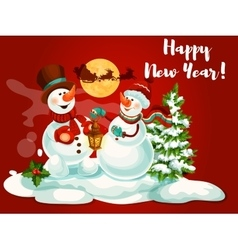Snowman with lantern greeting card vector image vector image