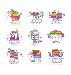 Sweets logos set confectionery and bakery vector