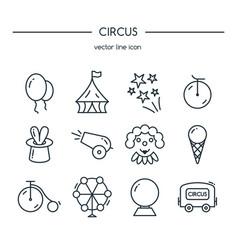 circus icons line set vector image