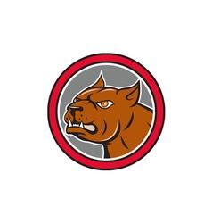 Pitbull Dog Mongrel Head Circle Side Cartoon vector image