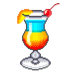 Pixel rainbow cocktail isolated vector image vector image