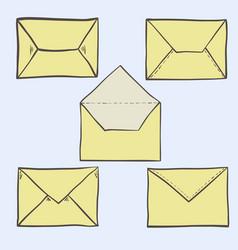 set of cute hand drawn envelopes vector image vector image