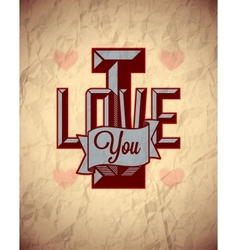 Vintage sign of love on aged crumpled paper vector image vector image