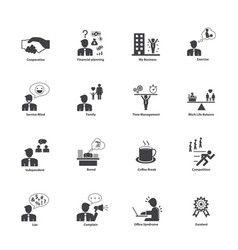 business people activities icons set vector image vector image