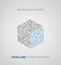 Cube created of numbers 1 and 0 Digital technology vector image vector image
