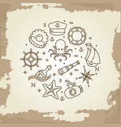 marine sea nautical maritime thin line icons vector image