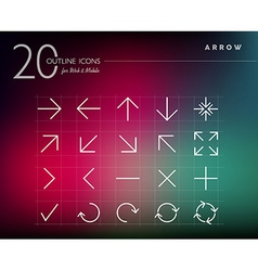 Outline style arrows icons set vector image