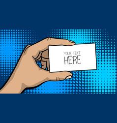 Pop art comic text business card cartoon man hand vector
