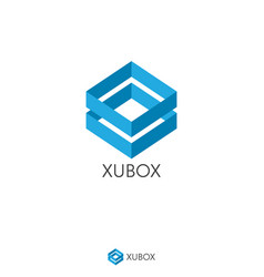 simple dual blue box logo concept double shape vector image