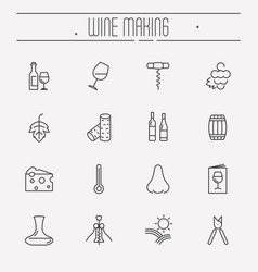 thin line wine and wine making icons set vector image vector image