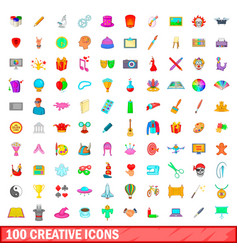 100 creative icons set cartoon style vector