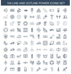 100 power icons vector