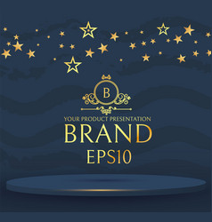 3d elegant round podium with gold stars realistic vector image