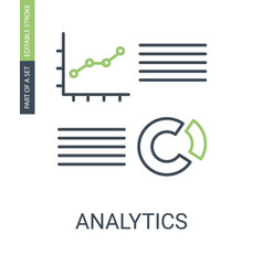 analytics charts icon with outline style vector image
