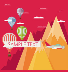 background of hot air balloons plain with banner vector image