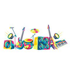 background with musical instruments vector image