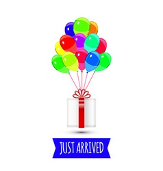Balloons party multicolored Giftbox with balloons vector