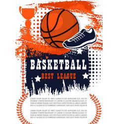 basketball game poster with ball vector image