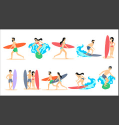 big set of of surfers vector image