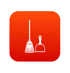 Broom and dustpan icon digital red vector