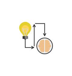 bulb creativity brain process idea icon flat style vector image