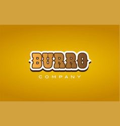 Burro western style word text logo design icon vector