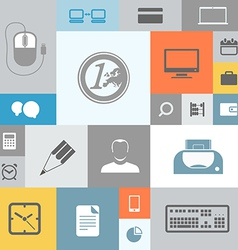 Business icons on color tiles vector