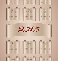 Calendar 2015 on aged paper scroll vector image