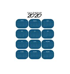 Calendar 2020 template simple design vector