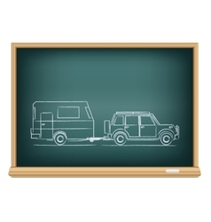 Camp car drawn on blackboard vector