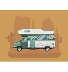 Camper Trailer on desert National Park Area vector
